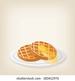 Adorable vector waffles with a piece of butter on top
