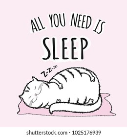 Adorable white fat cat is sleeping,funny lettering - all you need is sleep,vector illustration