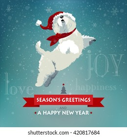 Adorable white fluffy dog in red hat exciting with snow jumps for joy. Vector EPS 10 illustration and photo image available.