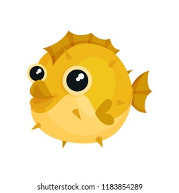 Adorable yellow blowfish with big shiny eyes. Exotic sea animal. Underwater life theme. Flat vector for children t-shirt print