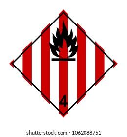 ADR 4 flammable solids, black, red and white sign, vector illustration.
