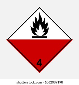 ADR 4 Substances liable to spontaneous combustion, black, red and white sign, vector illustration.