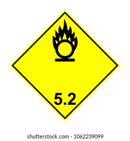 ADR 5.2 Organic peroxide, yellow and black sign, vector illustration.