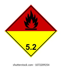 ADR 5.2 Organic peroxide, yellow and red sign, vector illustration.
