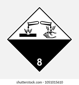 ADR 8 corrosive substance sign, black and white diamond sign, vector illustration.