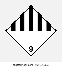 ADR 9 miscellaneous dangerous substances, black and white diamond sign, vector illustration.