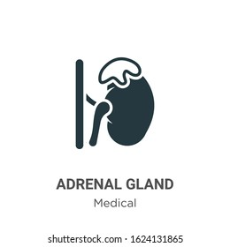 Adrenal gland glyph icon vector on white background. Flat vector adrenal gland icon symbol sign from modern medical collection for mobile concept and web apps design.