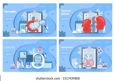 Adrenal glands, hypothyroidism concept. Tiny doctors treat pancreas, graves ' disease, diagnose diabetes, examine the endocrine system. Flat vector for landing page, website, application