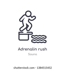 adrenalin rush outline icon. isolated line vector illustration from sauna collection. editable thin stroke adrenalin rush icon on white background