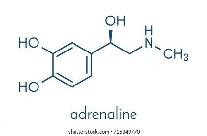 Adrenaline (adrenalin, epinephrine) neurotransmitter molecule. Used as drug in treatment of anaphylaxis Skeletal formula.