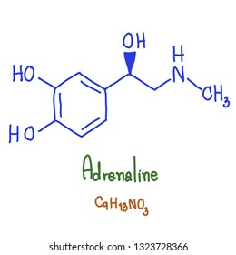 Adrenaline, also known as adrenalin or epinephrine, is a hormone, neurotransmitter, and medication. Epinephrine is normally produced by both the adrenal. vector illustration