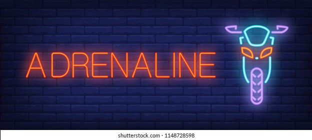 Adrenaline neon style banner. Text and front view of scooter on brick background. Night bright advertisement. Can be used for signs, posters, billboards