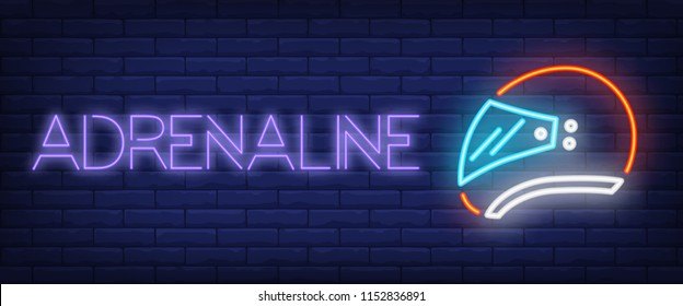 Adrenaline neon text with helmet. Transport and shopping concept. Advertisement design. Night bright neon sign, colorful billboard, light banner. Vector illustration in neon style.