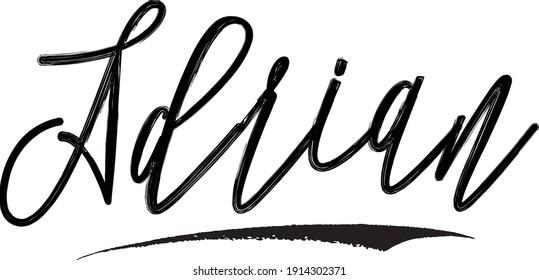 Adrian Beautiful Cursive Typography Black Color Text Vector Quote