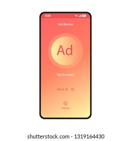 Ads blocker app smartphone interface vector template. Mobile utility page coral design layout. Adblock application screen. Turn off advert plugin flat gradient UI. Tap to enable button phone display
