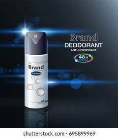 Ads deodorant spray packaging Can protect up to 48 hours. Mockup template, business, brochure, leaflet, flyer, poster. realistic packaging on a modern background Vector realistic file.