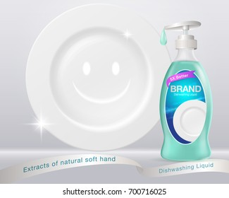 Ads Dishwashing Liquid. Dish-washing bottle form Used for advertising such as posters, flyers, books, Internet. illustrations advertising. Vector realistic.