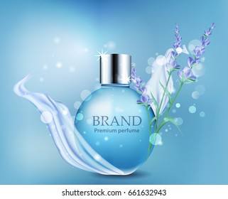 Ads female spirits. Vector bottle with drops of perfume and lavender flowers