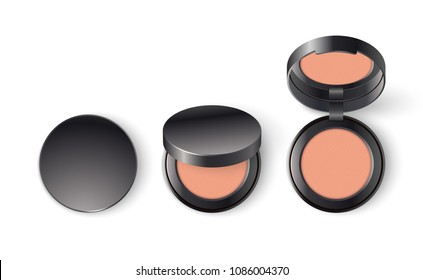 Ads template mockup realistic cosmetic makeup cheek blush compact or face concealer powder in black a pack on a white background.
