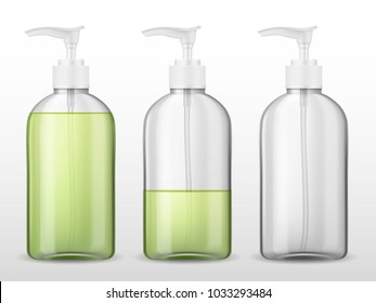 Ads template mockup realistic plastic bottle with dispenser airless pump, full and empty container with green transparent liquid gel, soap, lotion, cream, shampoo, bath foam on a white background
