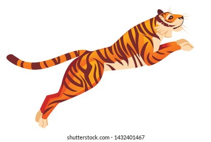 Adult big red tiger jumping from ground wildlife and fauna theme cartoon animal design flat vector illustration isolated on white background