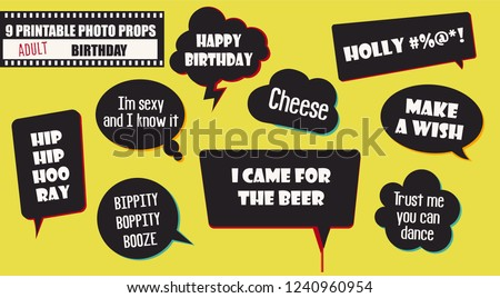 Adult Birthday Party Photo Booth Props Stock Vector Royalty Free
