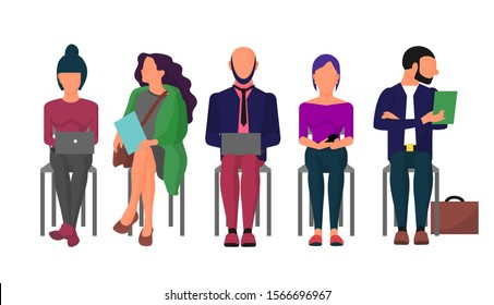 Adult business people waiting job interview sitting in row on chairs. Business men and women characters searching for work. Isolated on white. Flat style stock vector illustration.