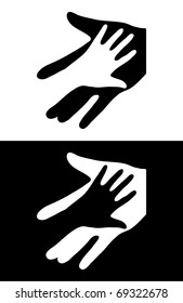 Adult Care About Child. Two Hands Symbol. Vector Illustration