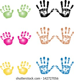 Adult and child hand prints in different colors/Hand prints/Colored hand prints