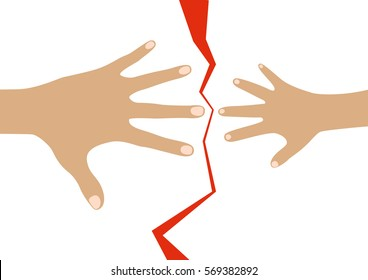 Adult and child hands separated by the red broken line