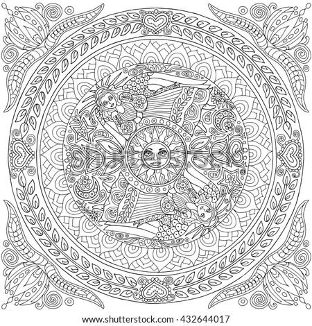 Adult Coloring Book Angels Spinning Round Stock Vector (Royalty Free ...