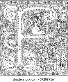 Adult Coloring Book Art Sheet Alphabet Letter F Zen Relaxation