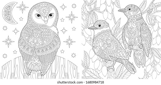 Birds Adult Coloring Book High Res Stock Images Shutterstock