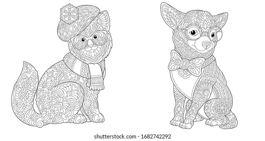 Adult coloring book. Cat and Chihuahua dog in funny accessories. Line art design for antistress colouring pages in zentangle style. Vector illustration.