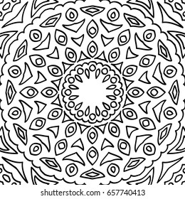 Adult Coloring Book Page. Abstract Seamless Black and White Pattern for Coloring, Wallpaper, Textile, Fabric, Tile