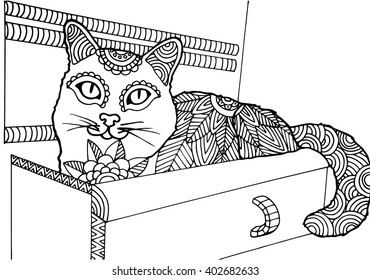 Adult coloring book page, bohemian cat