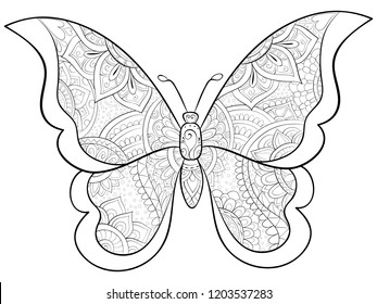 Adult coloring book page.  A cute butterfly image for relaxing.Zen art style illustration for print.