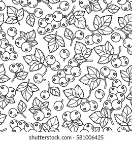 Adult coloring book page design with currant  berries seamless pattern. Floral seamless pattern. Vector illustration