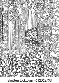Adult coloring book page design with forest trees. Coloring book page for adult.