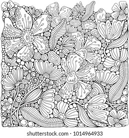 Adult Coloring book page with different little flowers and leaf in zentangle style. Black and white vector illustration. Doodle, hand drawn, zen art, anti stress.