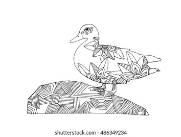 Adult coloring book page, duck