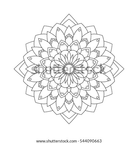 Adult Coloring Book Page Indian Floral Stock Vector Royalty Free