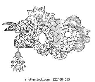 Adult coloring book page with lettering 2019 and and abstrct flowers and mandalas. Inscription dedicated to new year celebration