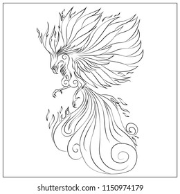 Adult coloring book page with magic phoenix. Oriental pattern, vintage decorative elements. Hand drawn vector illustration. Eps 10.