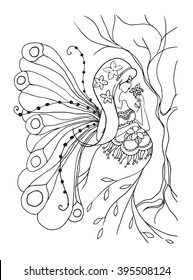Adult coloring book page with Pregnant lady, butterfly wings.Pregnancy in zentangle style art.Black and white