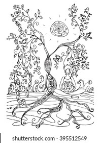Adult coloring book page with Pregnant lady sitting near tree, meditation. Pregnancy in zentangle style art. Black and white