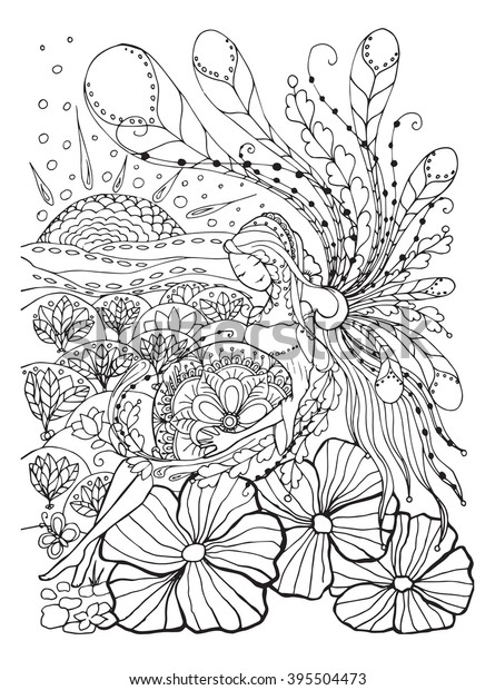 Adult Coloring Book Page Pregnant Ladypregnancy Stock ...