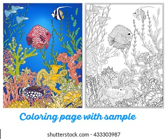 Outline Vector Illustration Adult Coloring Book Page With Underwater World Coral Reef Colored Sample Corals