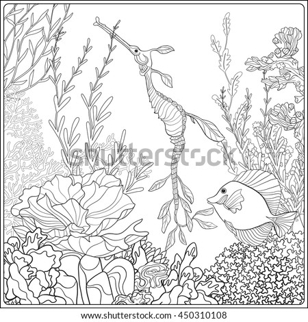 Adult Coloring Book Page With Underwater World Coral Reef Corals Fish And