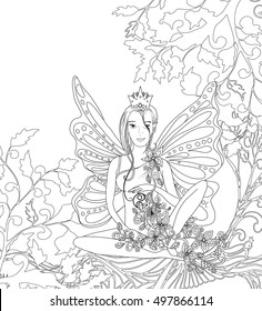 Adult coloring book page,isolated fairy lady with butterfly wings. Zentangle style art. Black and white monochrome graphic. Can be used for yoga club wallpaper design